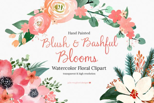 Blush-Bashful-Blooms-Watercolor Floral Clipart