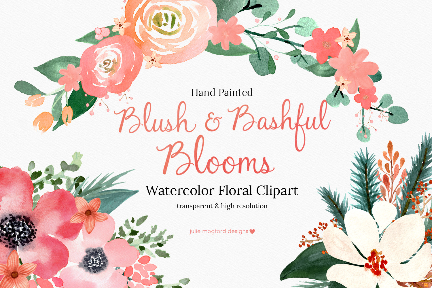 Blush bashful blooms watercolor floral clipart julie - High resolution watercolor flowers ...