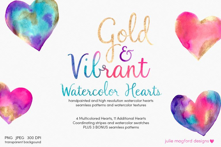 gold-vibrant-watercolor-hearts-clipart-transparent-pngs
