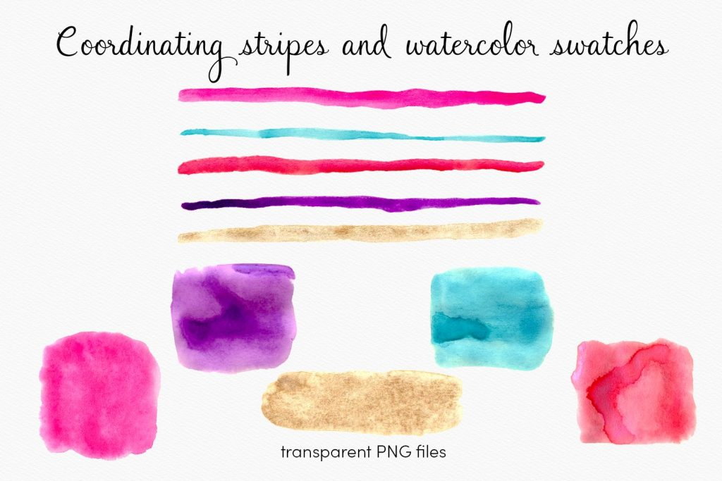gold-vibrant-watercolor-hearts-clipart-stripes-swatches